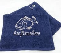 Full Carp Fish Design fishing towel Personalised with any Name.